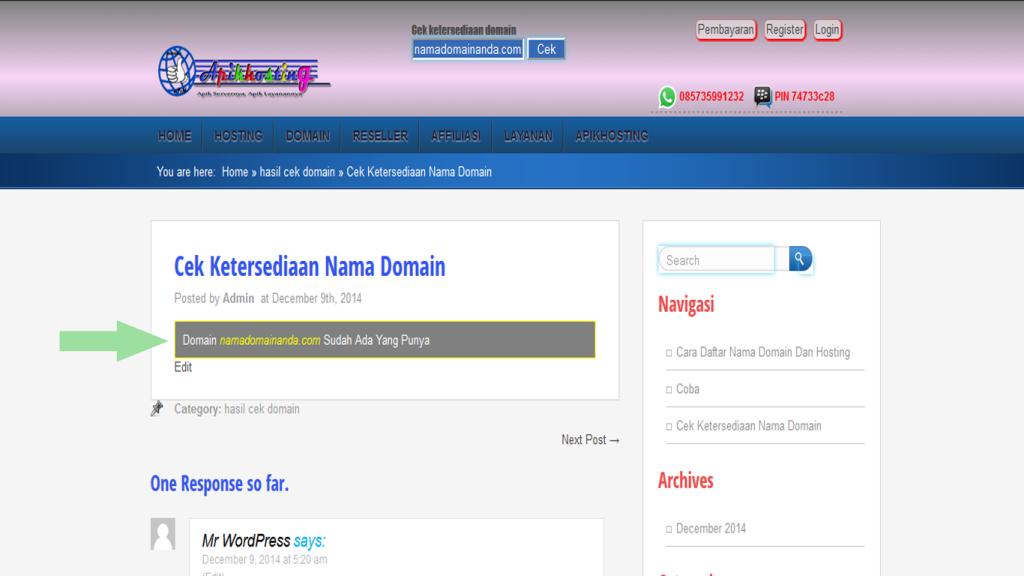 ketersediaan nama domain apikhosting