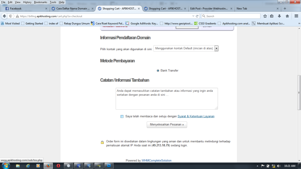 finish order form di apikhosting