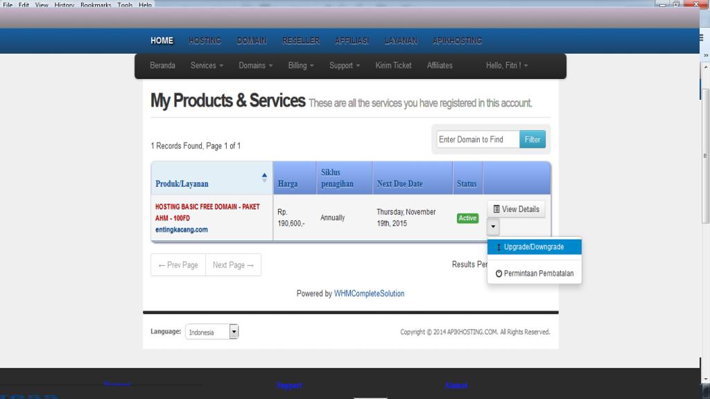 langkah upgrade hosting upgrade2 apikhosting