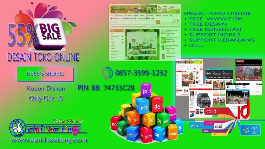 Apikhosting Big Sale Paket Website Toko Online 55% Spesial Akhir Taun 2015